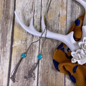 Jewelry - WESTERN Turquoise Silver Bolo Tassel Necklace
